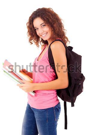 Nagy nő boldog pózol fehér lány Stock fotó © hsfelix