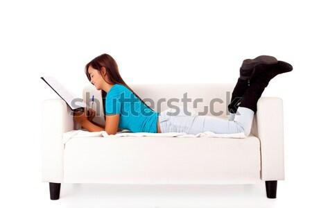 Mulher jovem relaxante casa menina feliz Foto stock © hsfelix