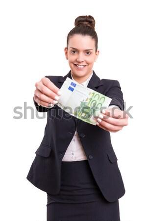 Igen extra pénz sikeres üzletasszony mutat Stock fotó © hsfelix