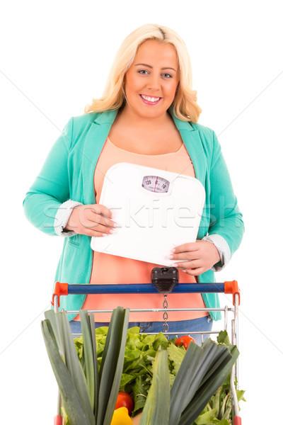 Büyük kadın süpermarket arama sağlıklı gıda uygunluk Stok fotoğraf © hsfelix