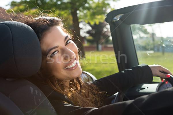 ストックフォト: ビジネス女性 · スポーツカー · 小さな · 成功した · 豪華な · 少女