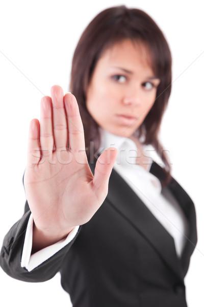 üzletasszony készít stoptábla fókusz kéz üzlet Stock fotó © hsfelix