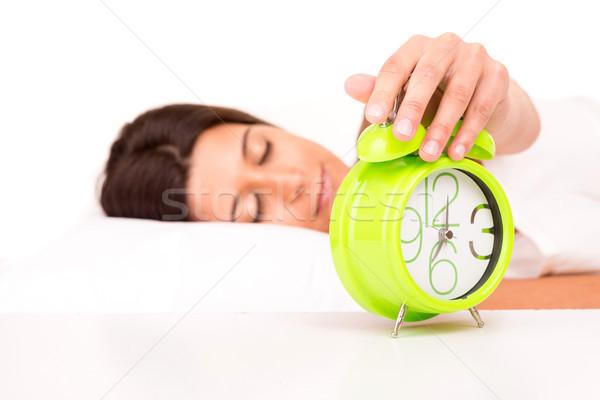 Nő ágy felfelé hang ébresztőóra lány Stock fotó © hsfelix