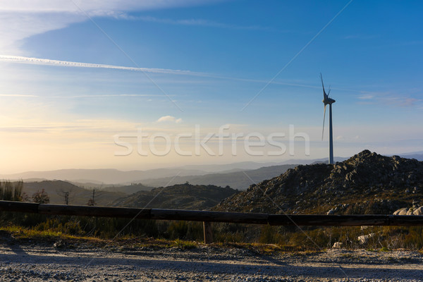 Vento energia belo blue sky pôr do sol tecnologia Foto stock © hsfelix