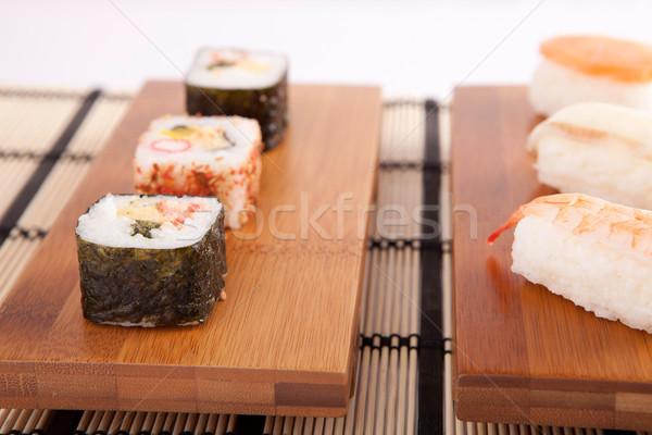 Sushi parçalar yalıtılmış beyaz gıda restoran Stok fotoğraf © hsfelix