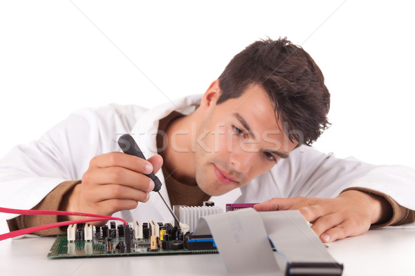Stock fotó: Számítógép · mérnök · boldog · sikeres · fiatal · üzlet