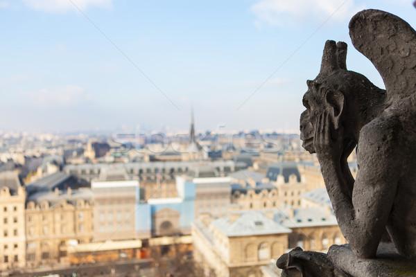 Stock fotó: Hölgy · Párizs · híres · démon · Eiffel-torony · nyár
