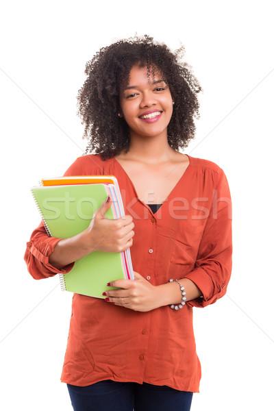 Сток-фото: счастливым · студент · красивой · женщину · улыбка