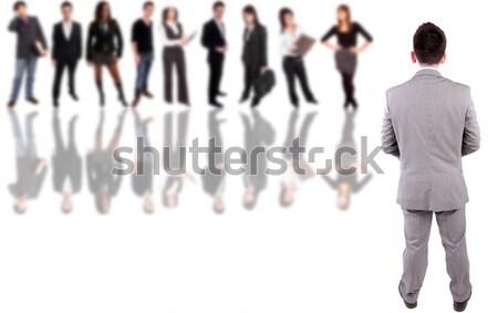 Iş kadını poz geriye doğru grup insanlar geri iş Stok fotoğraf © hsfelix