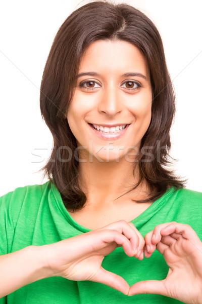 Hart vorm mooie vrouw hartvorm handen Stockfoto © hsfelix