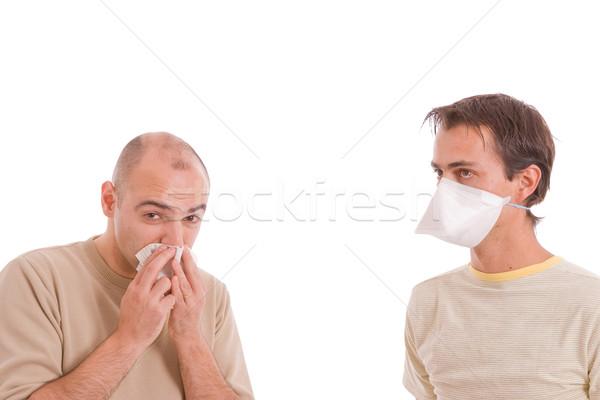 カジュアル 男性 インフルエンザ 孤立した 白 顔 ストックフォト © hsfelix