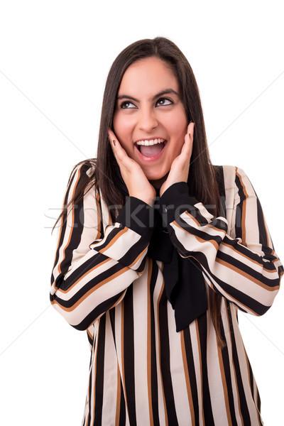 Surpreendido mulher jovem isolado branco moda cabelo Foto stock © hsfelix