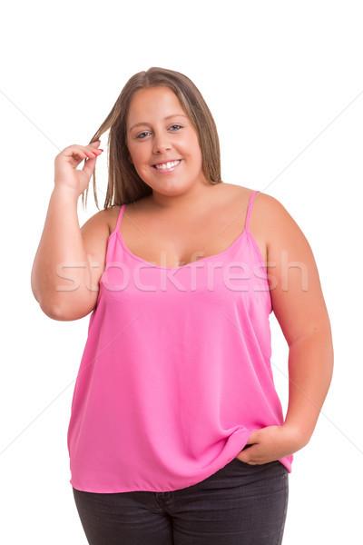 женщину счастливым позируют изолированный белый девушки Сток-фото © hsfelix