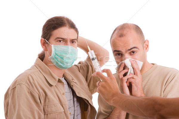 Stockfoto: Man · geïnfecteerde · h1n1 · virus · medische · gezondheid