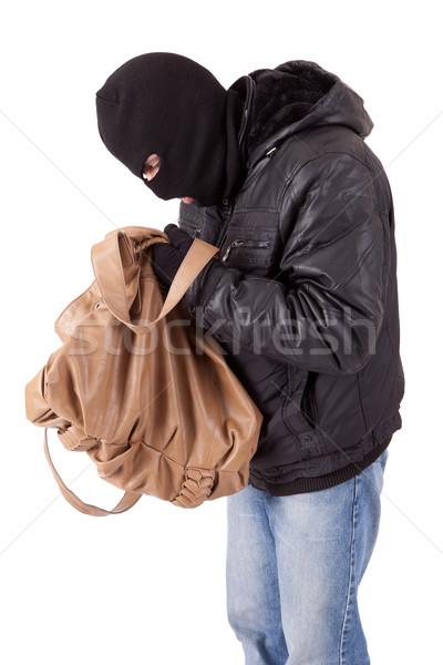 Ladro rubare borsa isolato bianco faccia Foto d'archivio © hsfelix