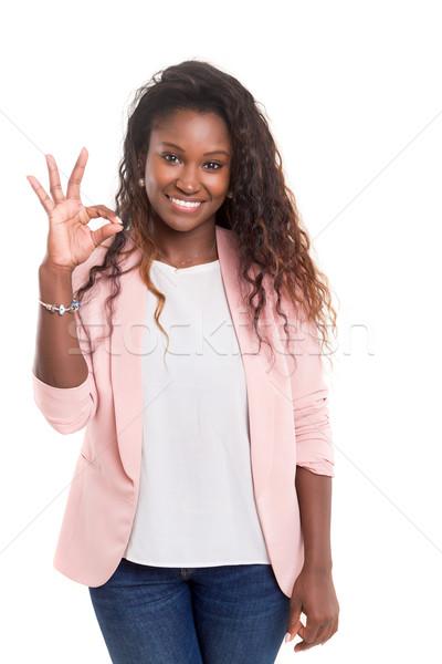 Hermosa aislado blanco estudiante Foto stock © hsfelix