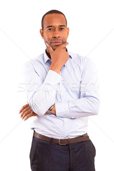 африканских деловой человек молодые красивый позируют изолированный Сток-фото © hsfelix