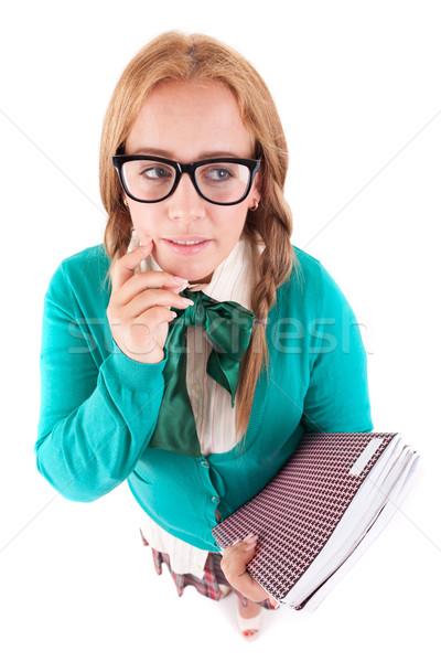 Schoolmeisje dom nerd poseren witte meisje Stockfoto © hsfelix