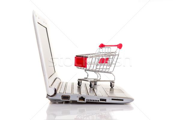 Carrinho de compras computador portátil negócio tecnologia caderno Foto stock © hsfelix