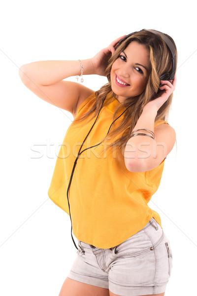 幸せ 女性 若い女性 音楽を聴く 音楽 少女 ストックフォト © hsfelix