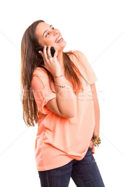 женщину телефон молодые красивая женщина телефон изолированный белый Сток-фото © hsfelix