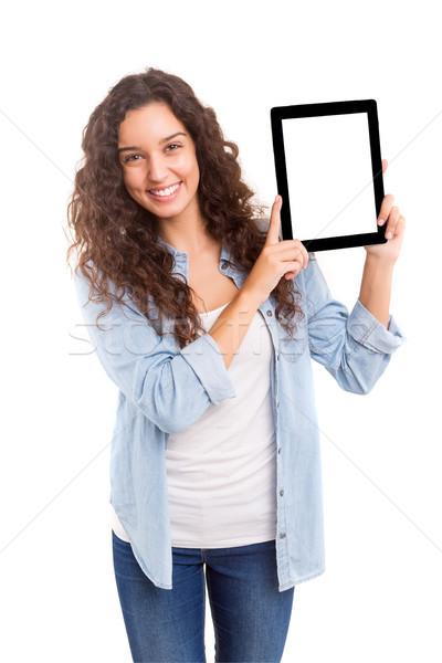 Wow veja feliz mulher jovem produto Foto stock © hsfelix