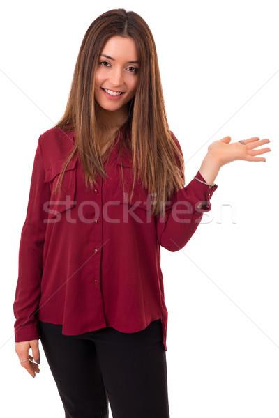 Wow veja jovem bela mulher produto Foto stock © hsfelix