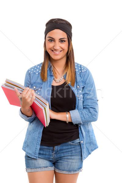 Gelukkig student jonge poseren witte vrouw Stockfoto © hsfelix