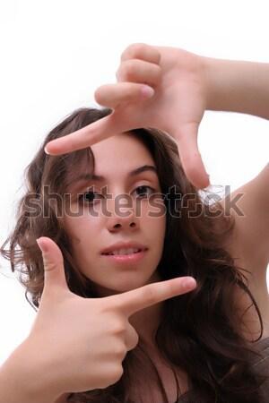 Jovem posando isolado branco menina mãos Foto stock © hsfelix