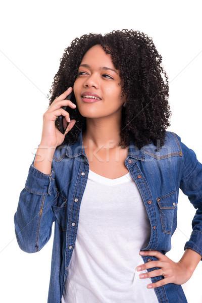 Afrika kadın telefonu genç güzel yalıtılmış beyaz Stok fotoğraf © hsfelix