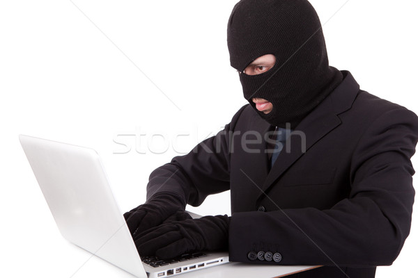 Hacker számítógép öltöny nyakkendő internet laptop Stock fotó © hsfelix