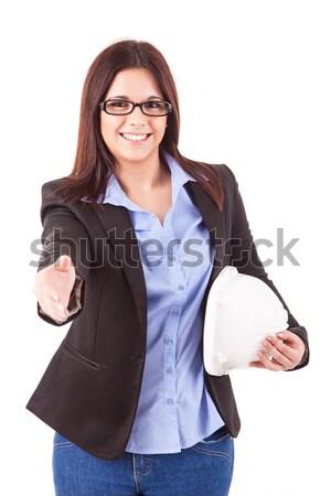 üzletasszony gyönyörű fiatal üzletasszony pózol izolált Stock fotó © hsfelix