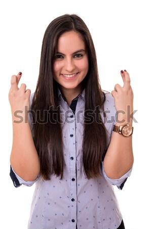 женщину пальцы изолированный белый бизнеса стороны Сток-фото © hsfelix