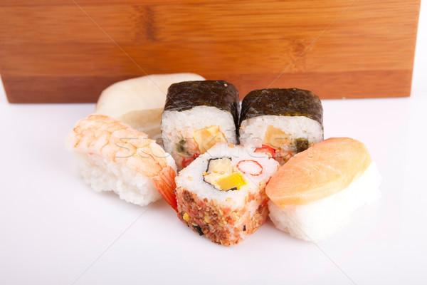Szusi darabok izolált fehér étel étterem Stock fotó © hsfelix