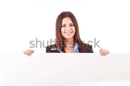 Kadın güzel genç kadın beyaz kart Stok fotoğraf © hsfelix