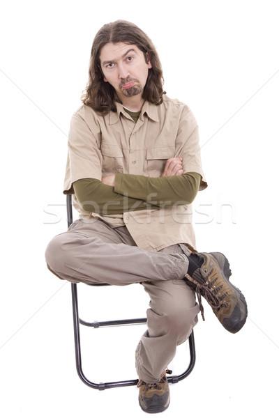 Sad man sitting on a chair Stock photo © hsfelix