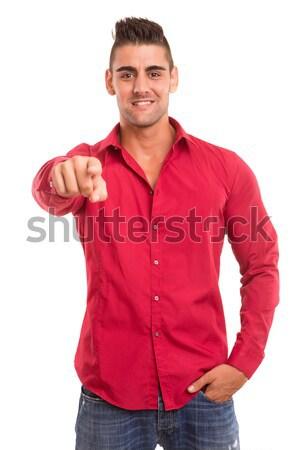 человека указывая красивый молодым человеком изолированный белый Сток-фото © hsfelix
