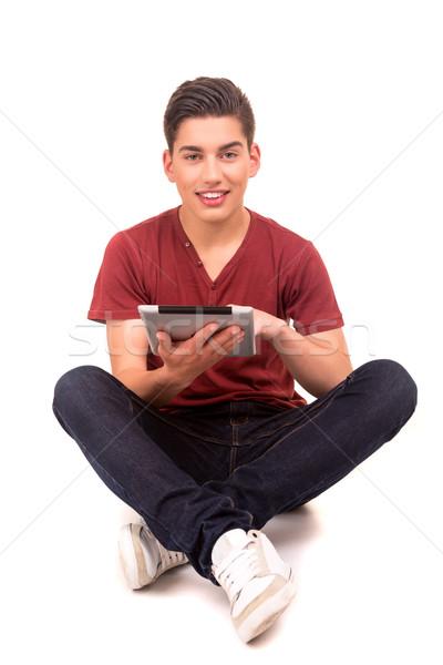 Сток-фото: студент · молодые · счастливым · рабочих · новых · цифровой