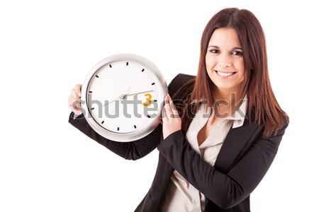 Foto d'archivio: Tardi · donna · d'affari · giovani · guardando · clock · sexy