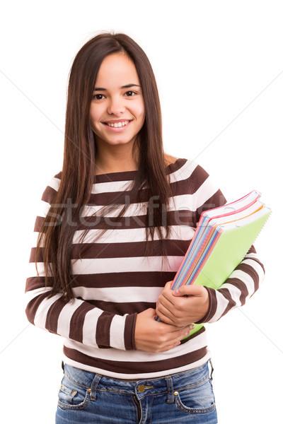 Asiatic student fericit izolat alb femeie Imagine de stoc © hsfelix