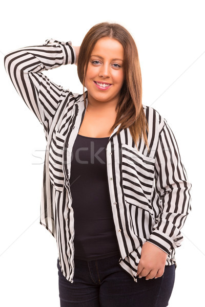 Nagy nő boldog üzletasszony izolált fehér Stock fotó © hsfelix
