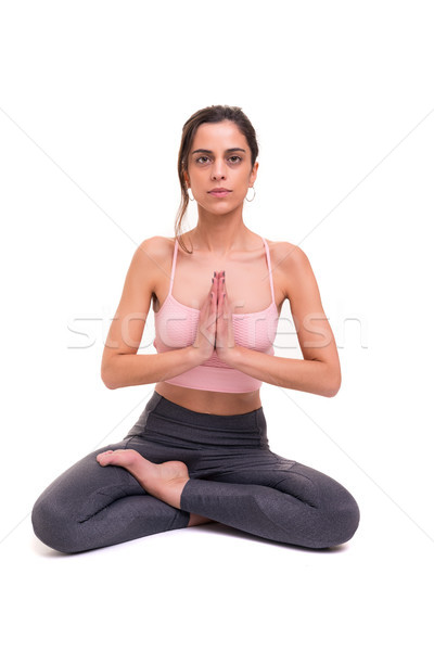 Ioga mulher jovem prática isolado branco Foto stock © hsfelix