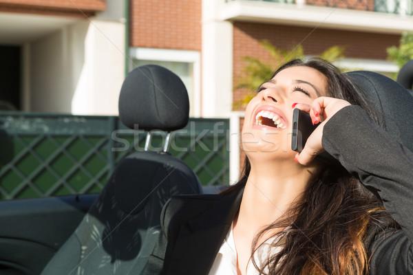 üzletasszony sportautó fiatal sikeres telefon márka Stock fotó © hsfelix