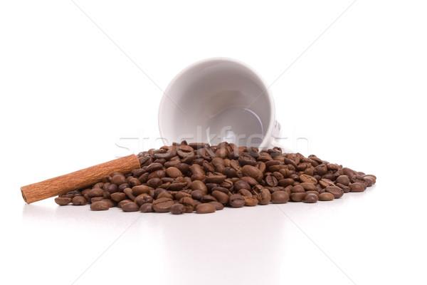 Кубок кофе корицей кофе изолированный белый Сток-фото © hsfelix