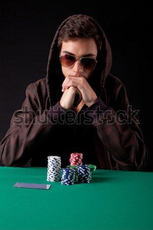 Stockfoto: Vrouw · spelen · poker · mooie · vrouw · Texas · sexy
