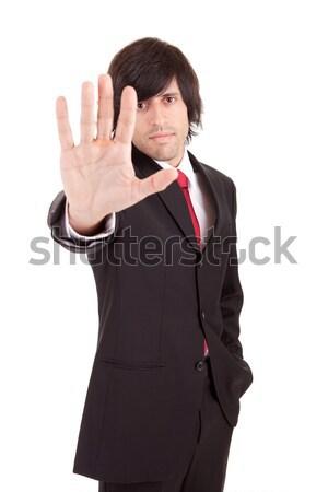 Iş adamı dur işareti yalıtılmış el imzalamak Stok fotoğraf © hsfelix