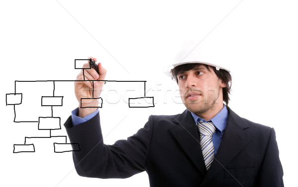 Young business man drawing dataflow Stock photo © hsfelix