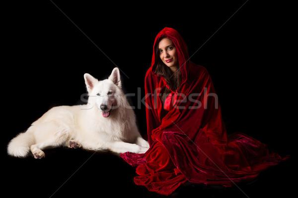 Kırmızı gizleme kadın poz stüdyo Stok fotoğraf © hsfelix