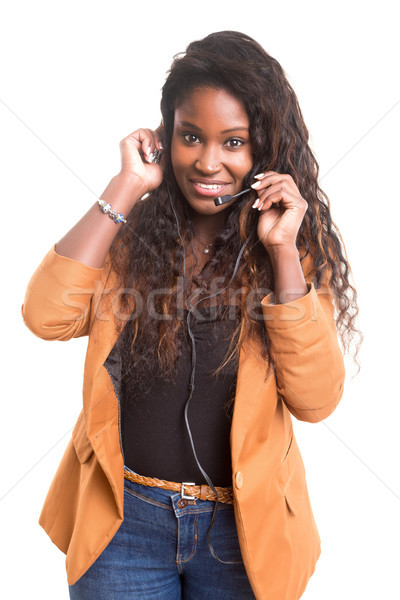 電話 演算子 優しい アフリカ 笑みを浮かべて 孤立した ストックフォト © hsfelix
