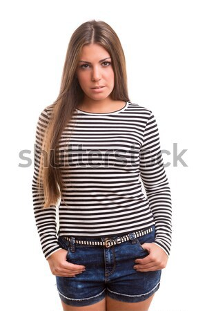 Mujer hermosa hermosa jóvenes casual mujer Foto stock © hsfelix